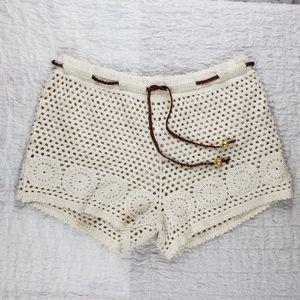 Nasty Gal Beige Tiewaist Crochet Hotpant Short NWT